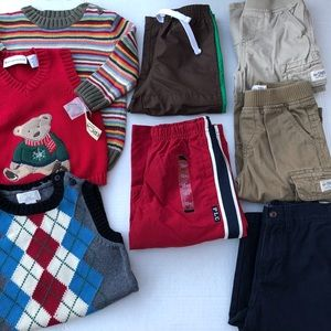 8pc Lot boys Cargo Pants Athletic Sweater Vest 18m